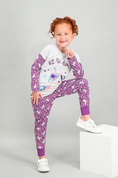 U.S. Polo Assn. Lisanslı Kız Çocuk Pijama Takımı Gri